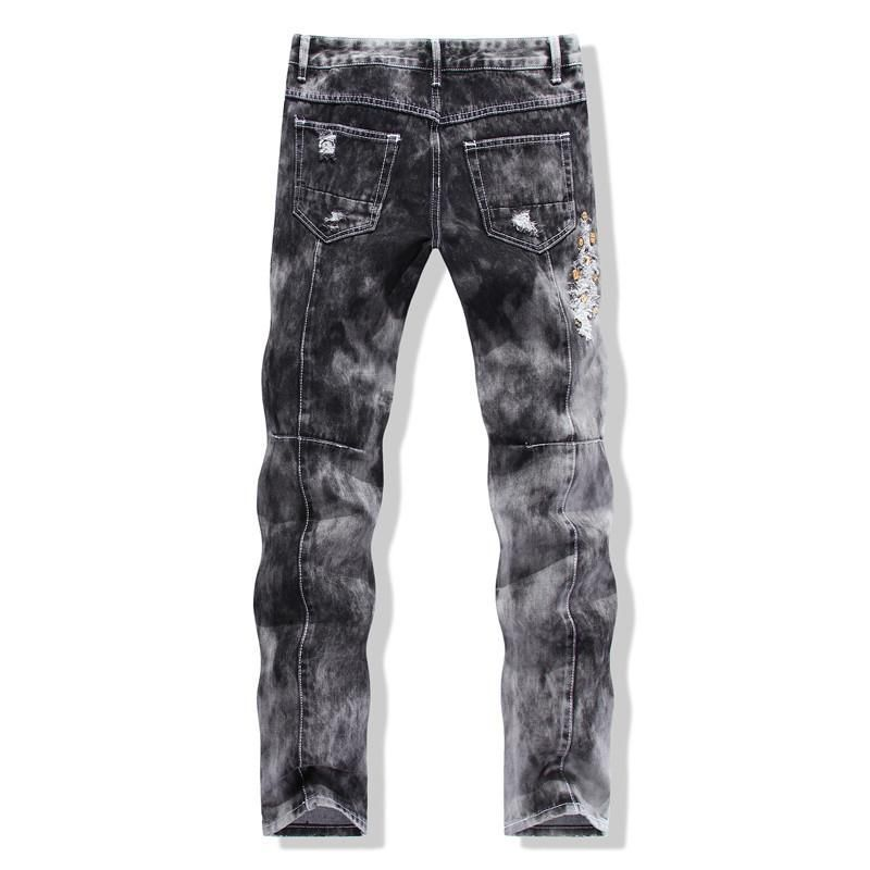Men's Ripped Jeans With Sequined Skulls - TrendSettingFashions   - 3