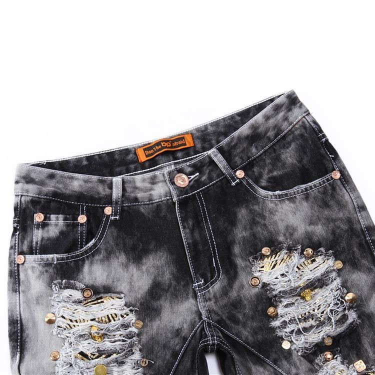 Men's Ripped Jeans With Sequined Skulls - TrendSettingFashions   - 5