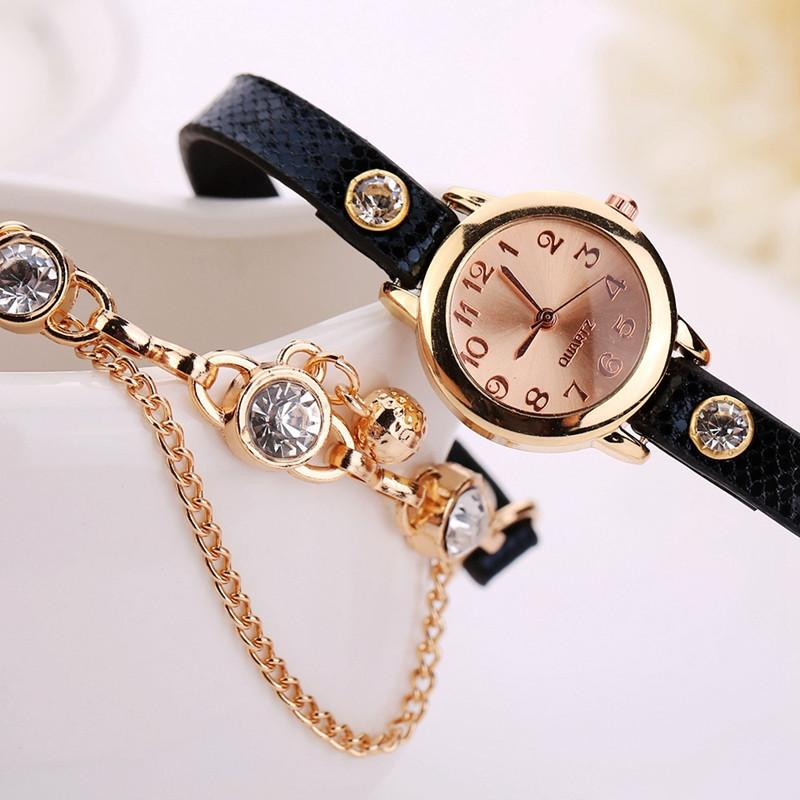 Women's Leather Strap Glass Jewel Watch In 8 Colors - TrendSettingFashions   - 9