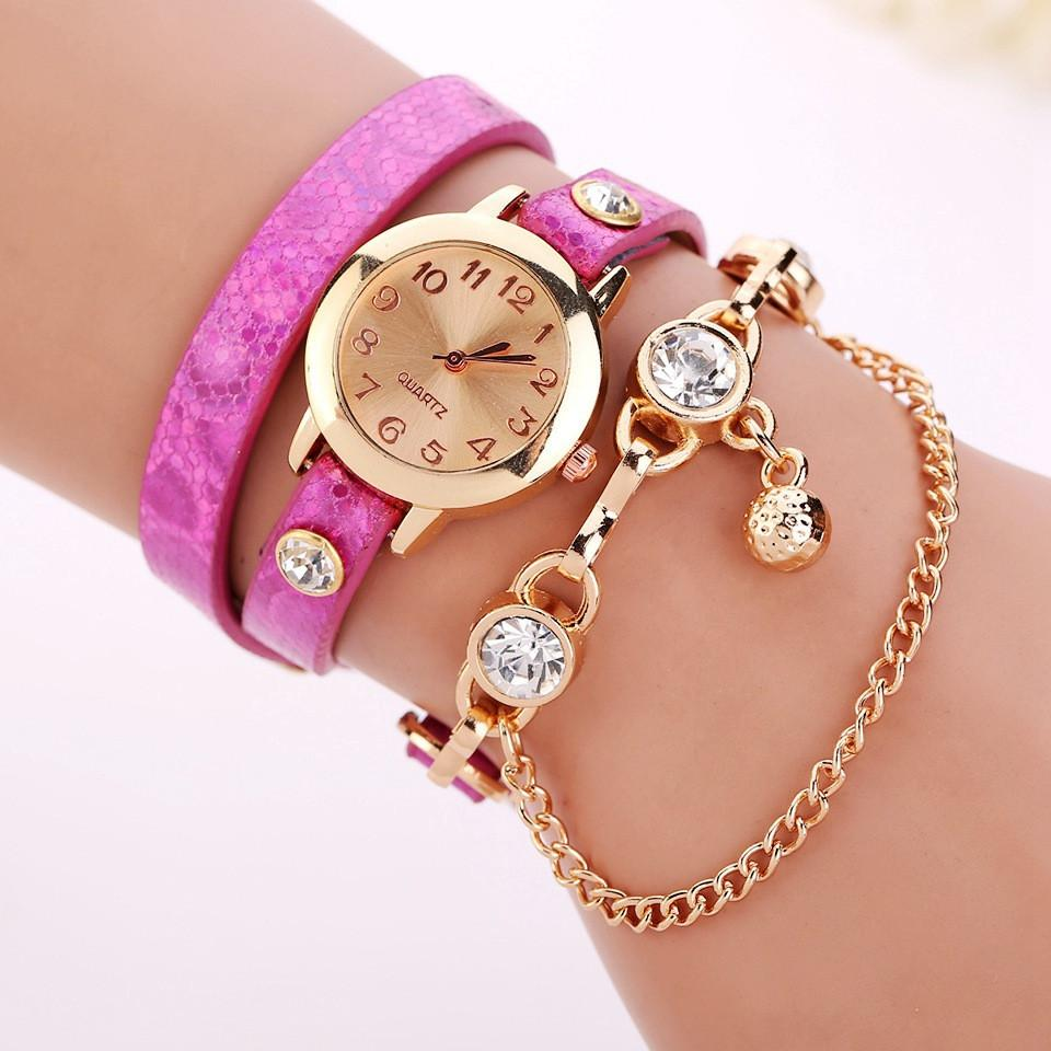 Women's Leather Strap Glass Jewel Watch In 8 Colors - TrendSettingFashions   - 8