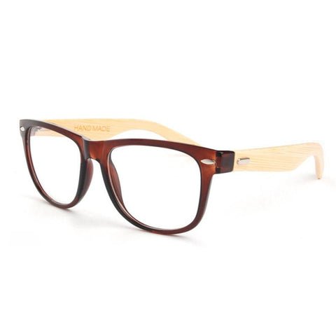 Vintage Bamboo Eyeglasses With Clear Lens In 3 Colors