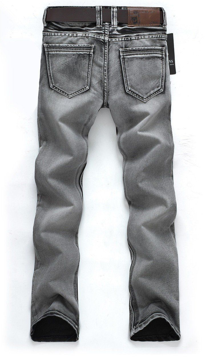 Men's Water Washed Light Grey Jeans - TrendSettingFashions   - 3