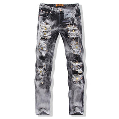 Men's Ripped Jeans With Sequined Skulls - TrendSettingFashions   - 4