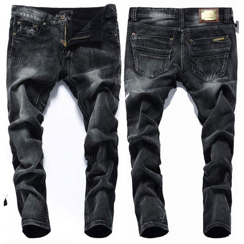 Men Black Colored Stonewashed Jeans - TrendSettingFashions