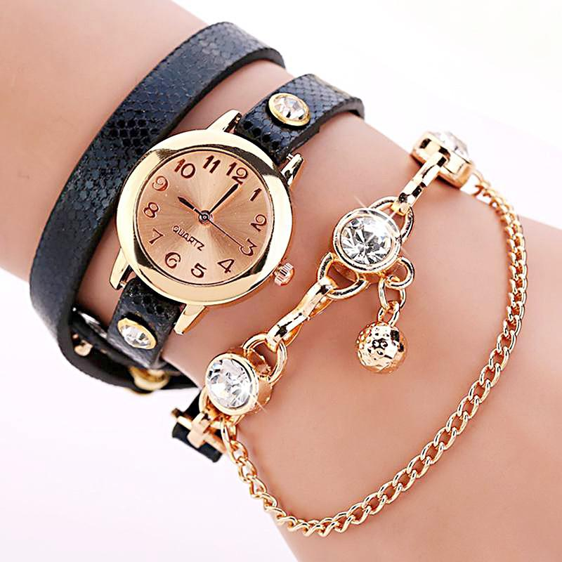 Women's Leather Strap Glass Jewel Watch In 8 Colors - TrendSettingFashions   - 2