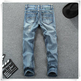 Men's Light Color Straight Printed Jeans - TrendSettingFashions