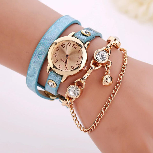Women's Leather Strap Glass Jewel Watch In 8 Colors - TrendSettingFashions