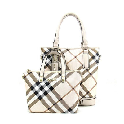 Women's 2 Peice Plaid Bag Set 3 Color Options - TrendSettingFashions