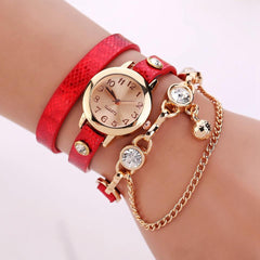 Women's Leather Strap Glass Jewel Watch In 8 Colors - TrendSettingFashions   - 1