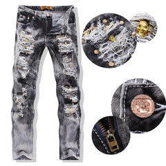 Men's Ripped Jeans With Sequined Skulls - TrendSettingFashions   - 1