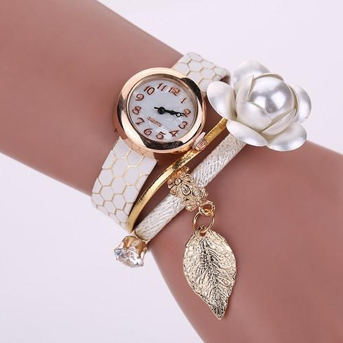 Women's Leather Vintage Flower Bracelet Watch In 6 Colors! - TrendSettingFashions