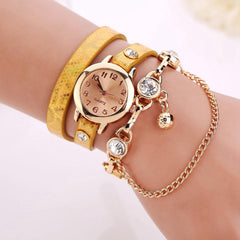 Women's Leather Strap Glass Jewel Watch In 8 Colors - TrendSettingFashions   - 6