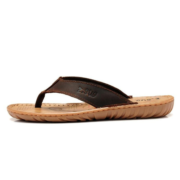 Men's Genuine Leather Flip Flops Up To Size 13 - TrendSettingFashions