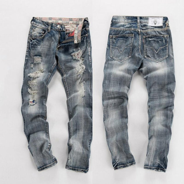 Men's Ripped Light Wash Jeans - TrendSettingFashions