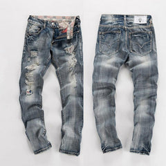 Men's Ripped Light Wash Jeans - TrendSettingFashions   - 1