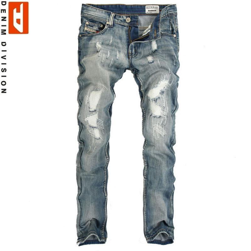 Men's Light Washed Ripped Grey Jeans - TrendSettingFashions   - 1