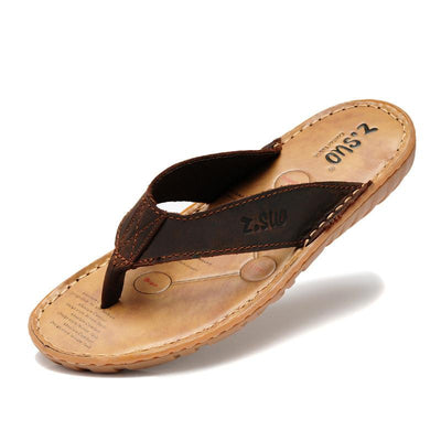 Men's Genuine Leather Flip Flops - TrendSettingFashions   - 2
