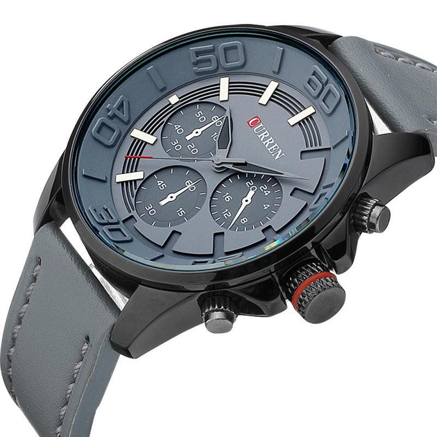 Luxury Leather Strap Sports Watch - TrendSettingFashions