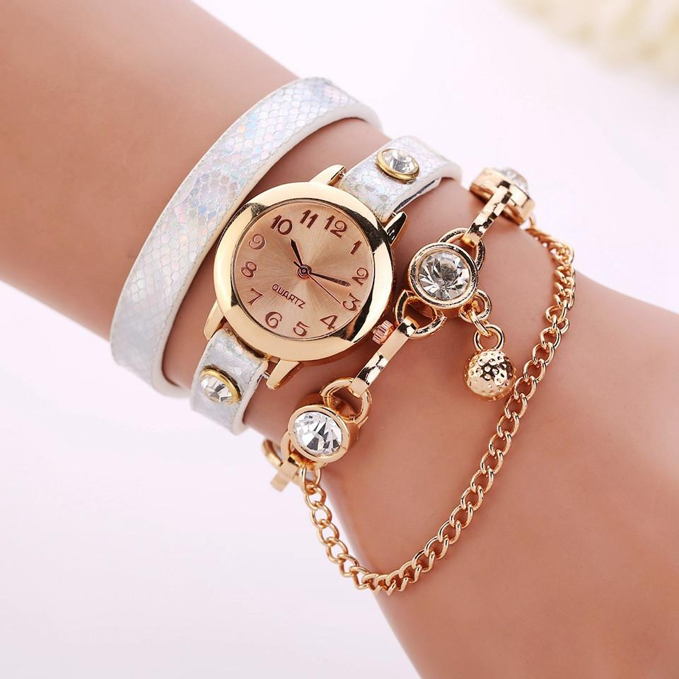 Women's Leather Strap Glass Jewel Watch In 8 Colors - TrendSettingFashions   - 5