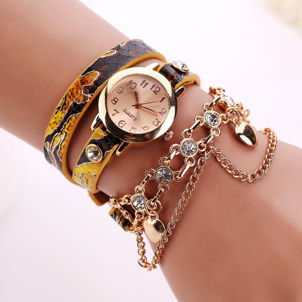 Women's Dual Heart Fashion Watch With Fashion Imprinted Band - TrendSettingFashions   - 1