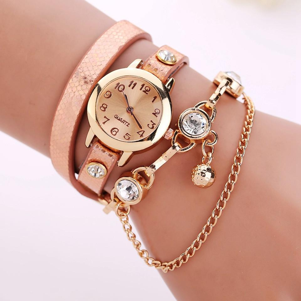Women's Leather Strap Glass Jewel Watch In 8 Colors - TrendSettingFashions   - 7