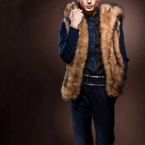 Men's Fashion Soft Faux Luxury Fur Coat