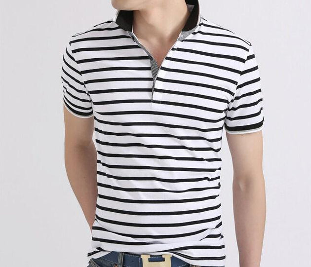Men's Striped Summer Polo - TrendSettingFashions