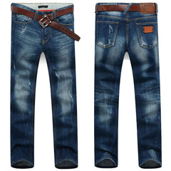 Men's Dark Blue Straight Jeans With Small Rips - TrendSettingFashions   - 1