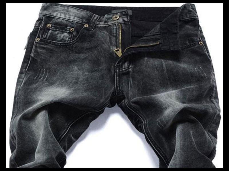 Men Black Colored Stonewashed Jeans - TrendSettingFashions   - 3