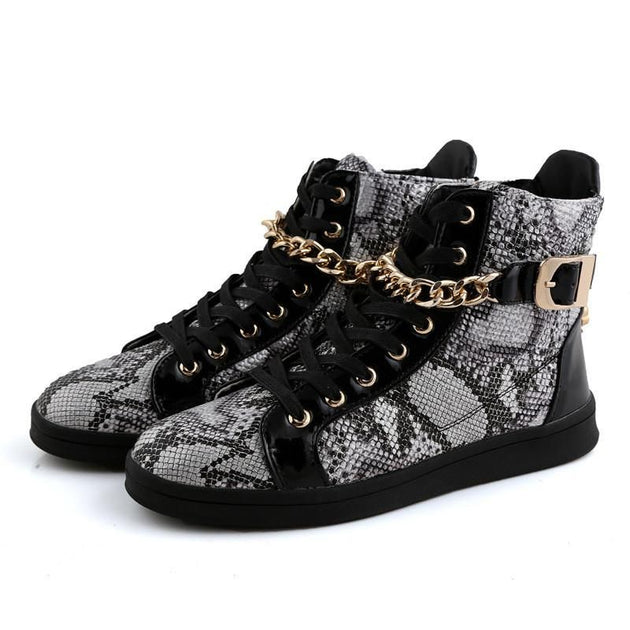 Men's Faux Snake Skin Chain Boots In 3 Colors! - TrendSettingFashions