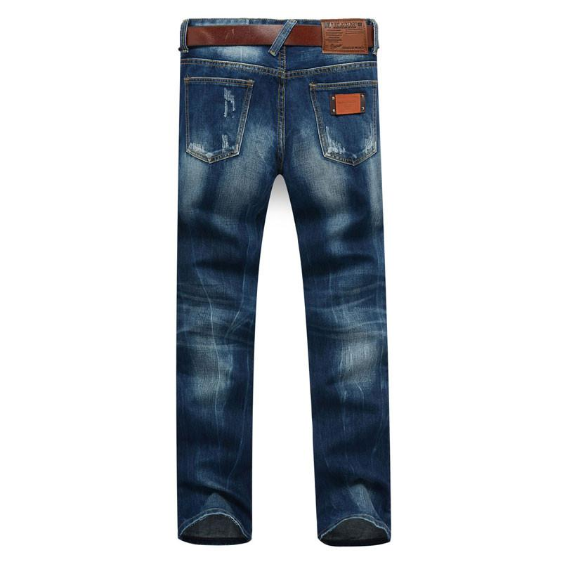 Men's Dark Blue Straight Jeans With Small Rips - TrendSettingFashions   - 3