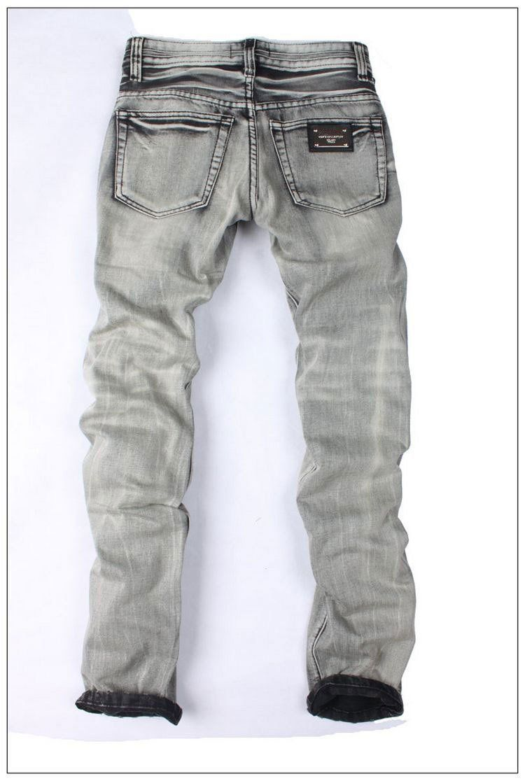 Men's Light Washed Grey Jeans - TrendSettingFashions   - 6