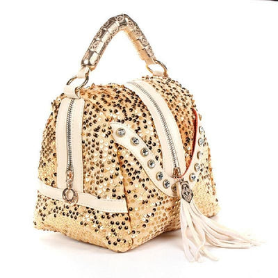 Women's Rhinestone Sequined Tassel Zip Messenger Handbag 3 Color Options - TrendSettingFashions
