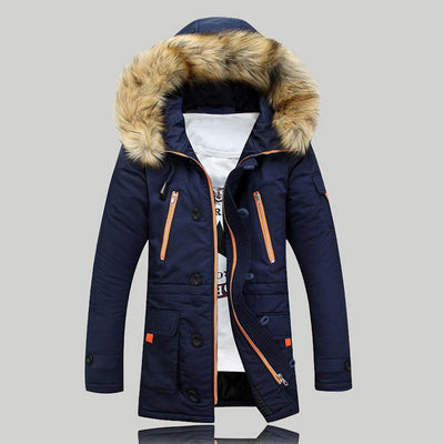 Men's Windproof Detachable Fur Hooded Jacket In 3 Color Options - TrendSettingFashions