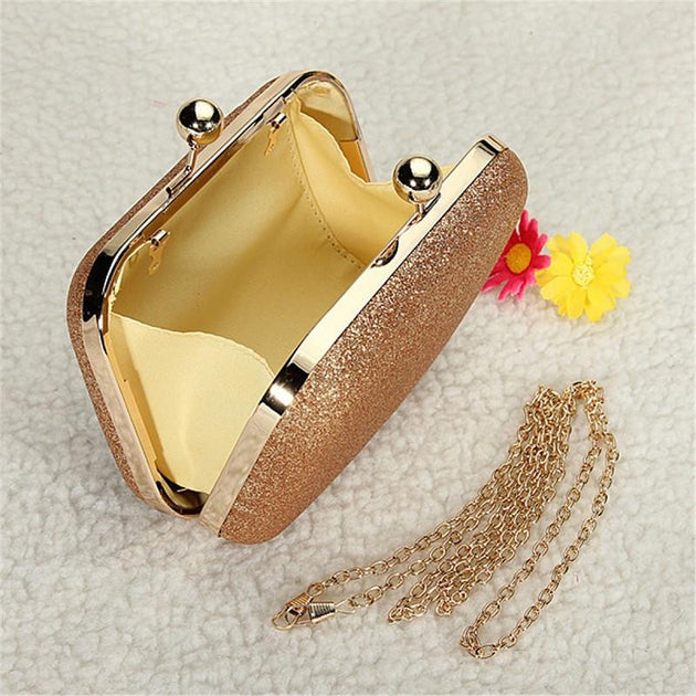Women's Elegant Glitter Chain Gold Case Box - TrendSettingFashions