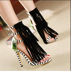 Women's Zebra Fashion Print Heels - TrendSettingFashions   - 1