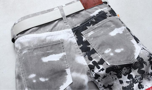 Men Casual USA Flag Printed Jeans - TrendSettingFashions