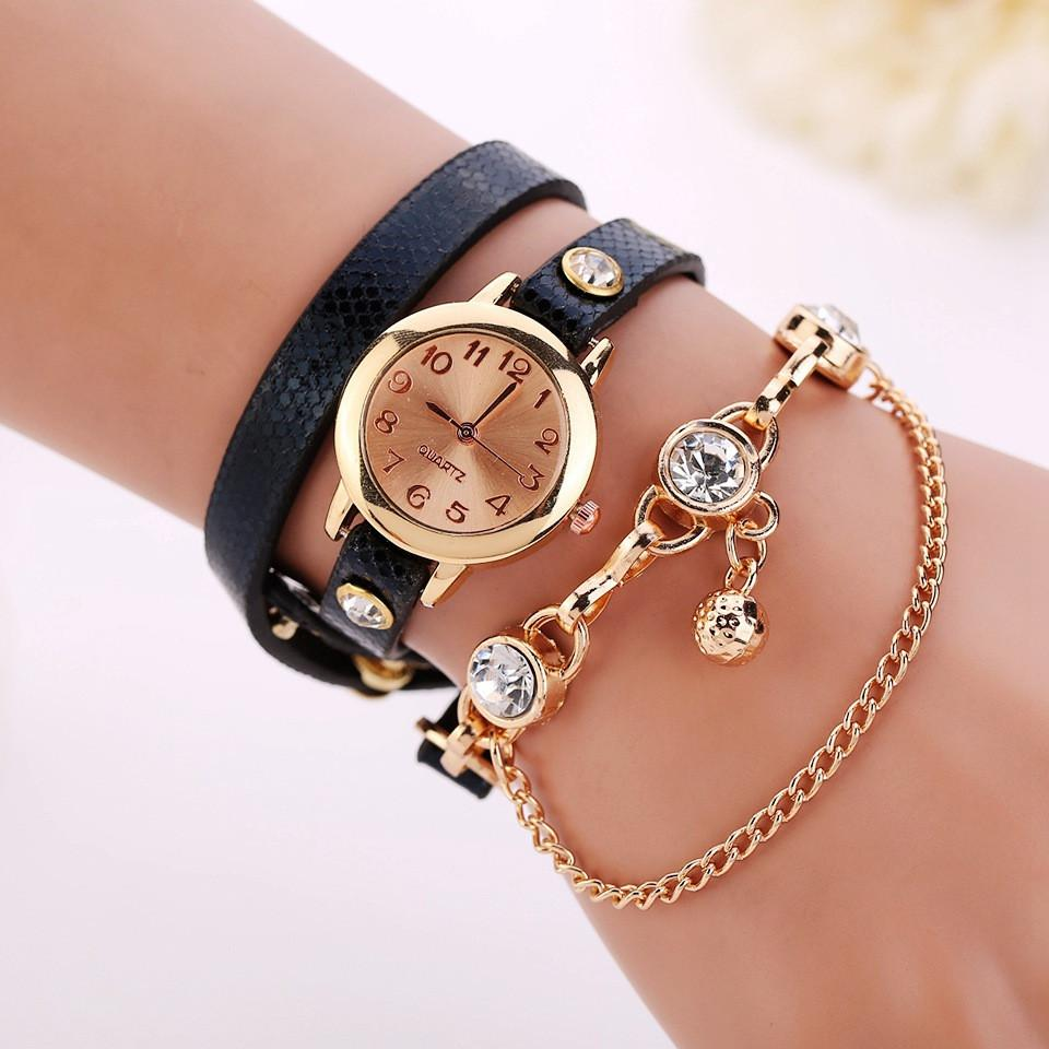 Women's Leather Strap Glass Jewel Watch In 8 Colors - TrendSettingFashions   - 4