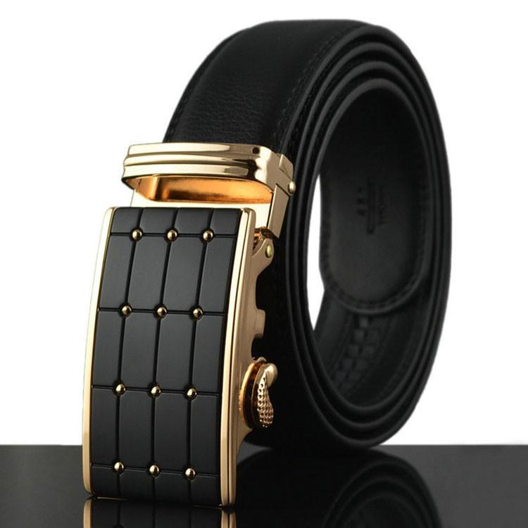 Genuine Leather Belt Gold and Black Style 3