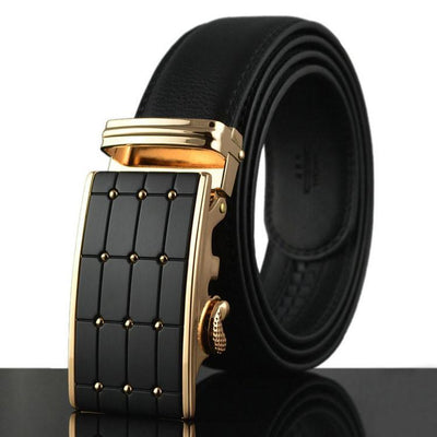Genuine Leather Belt Gold and Black Style 3 - TrendSettingFashions