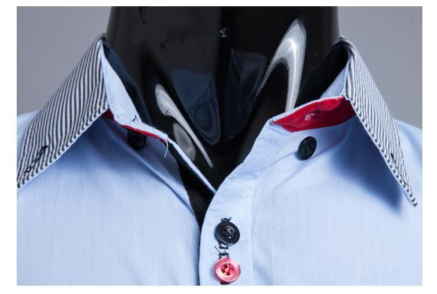 Men's Striped Collar 2 Button Fashion Dress Shirt - TrendSettingFashions   - 3