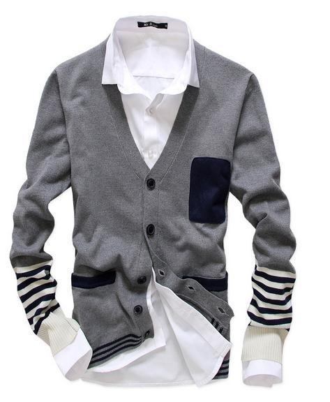 Men's Fashion Cardigan With Stripes - TrendSettingFashions   - 1