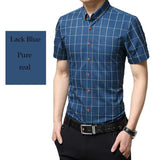 Men's Plaid Cotton Short Sleeve Shirt - TrendSettingFashions