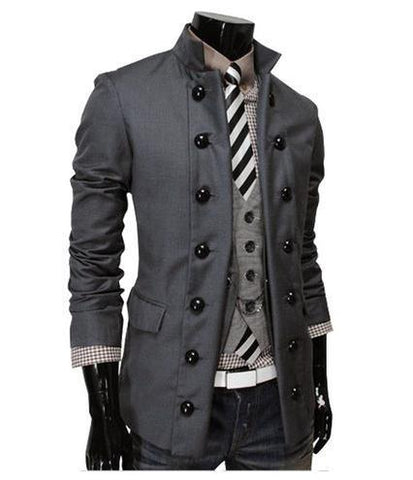 Men's Double-Breasted Suit Collar Fashion Jacket