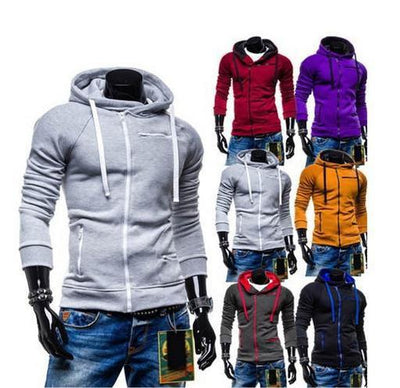 Men's High Collar Sweatshirt With Zip Pockets - TrendSettingFashions   - 1