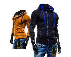 Men's High Collar Sweatshirt With Zip Pockets - TrendSettingFashions   - 3