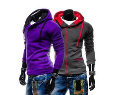 Men's High Collar Sweatshirt With Zip Pockets - TrendSettingFashions   - 2