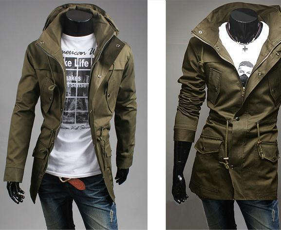 Men's High Collar Hooded Jacket - TrendSettingFashions