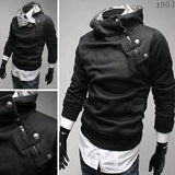 Men's High Collar Button Half Zip Sweatshirt - TrendSettingFashions