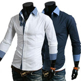 Men's Business Multi Color Collar, Sleeve Shirt - TrendSettingFashions
